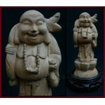 ไม้แกะสลัก สังกัจจายน์จีน(Lucky Buddha)