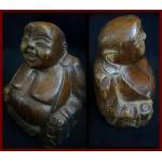 ไม้แกะสลักLucky Buddhaหรือแป๊ะยิ้ม สูง 14 cm.