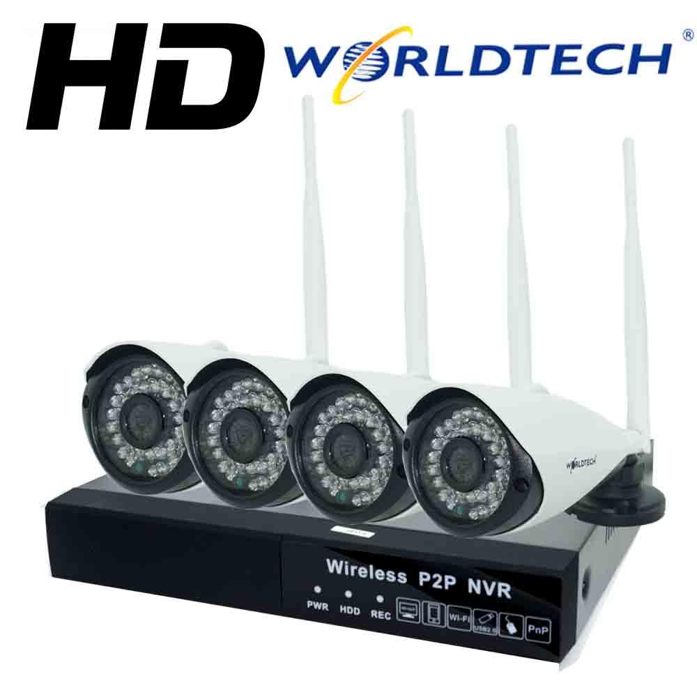 Worldtech กล้องวงจรปิดไร้สาย NVR-KIT HD-1MP 4CH