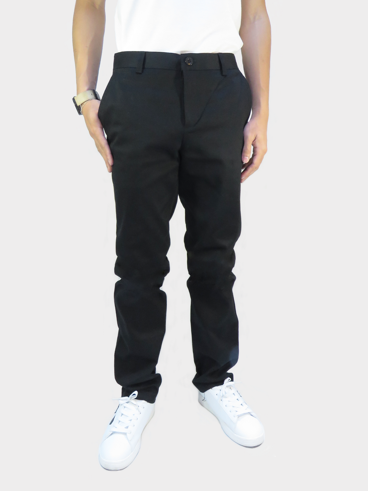 กางเกงขายาว กางเกงชิโน่ ผ้ายืด สีดำ