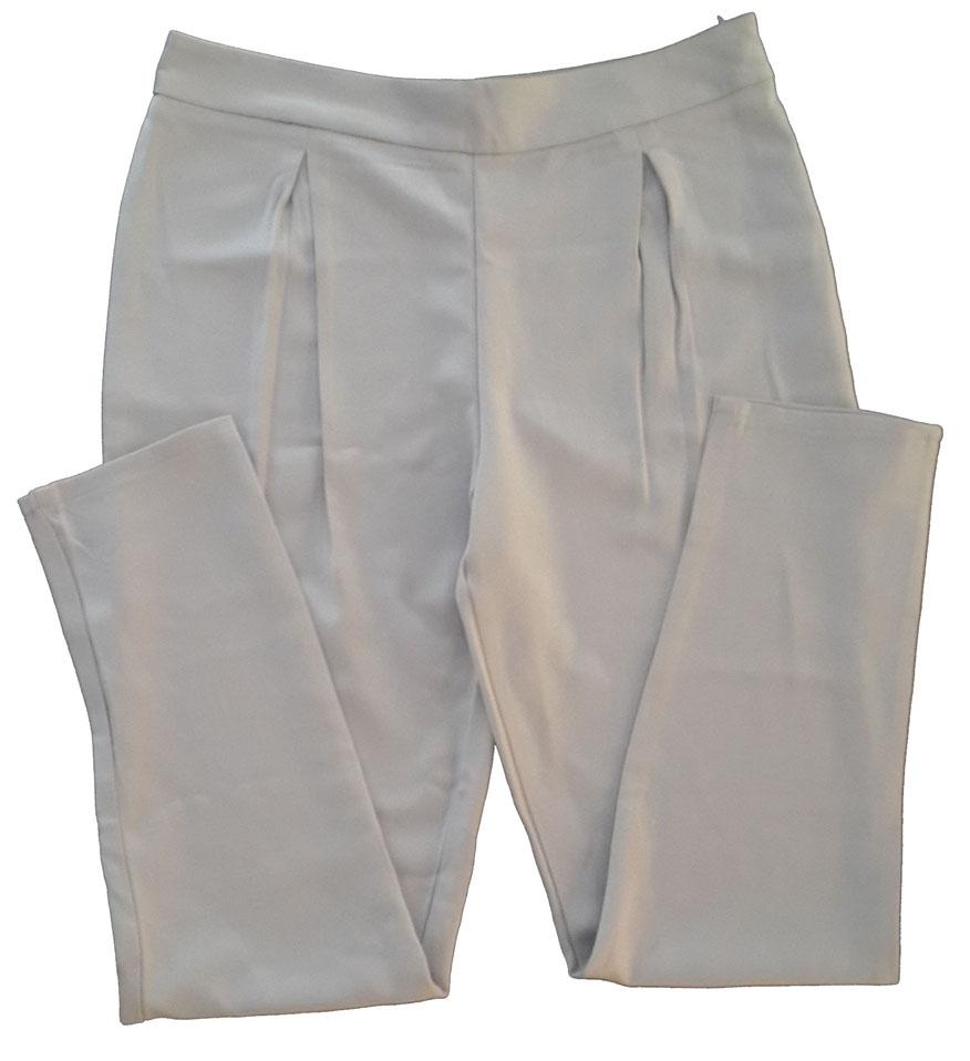 กางเกงขาเดฟเอวสูงจีบทวิตหน้า ผ้าฮานาโกะ สีเทา Size S M L XL