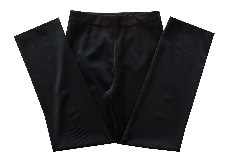 กางเกงขากระบอกเอวสูง ผ้าฮานาโกะ สีดำ Size S M L XL