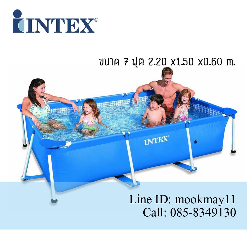 Intex Rectangular สระน้ำสี่เหลี่ยมขนาด 7 ฟุต สีน้ำเงิน รุ่น 28270