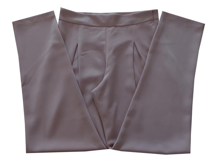 กางเกงขาเดฟเอวสูงจีบทวิตหน้า ผ้าฮานาโกะ สีน้ำตาลนู๊ด Size 2X 3X