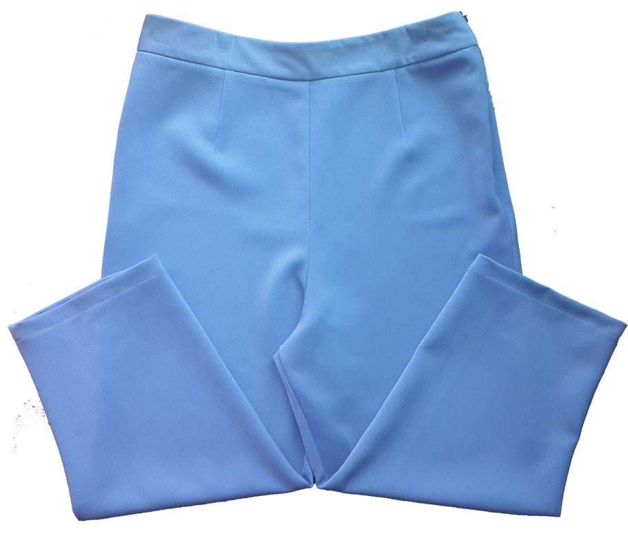 กางเกงขาบาน5ส่วน ผ้าฮานาโกะ ซิปซ้าย ไม่มีกระเป๋า สีฟ้าคราม Size S M L XL สำเนา