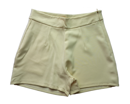 กางเกงขาสั้นเอวสูงผ้าฮานาโกะ สีเหลือง กระเป๋าขวา ซิปซ้าย Size 2XL 3XL