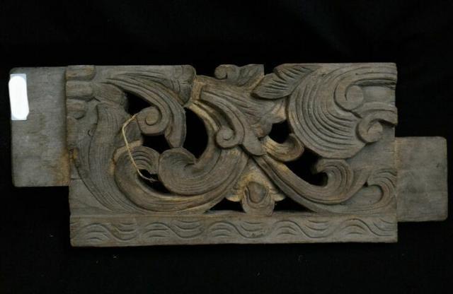 แผ่นไม้แกะสลักศิลปะจีน ยาว36 cm.