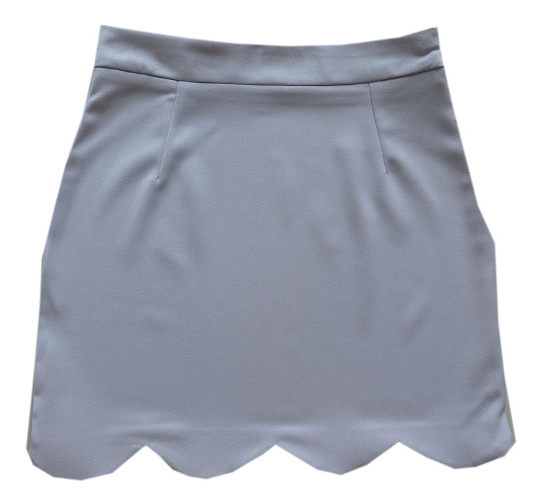 กระโปรงปลายหยัก ผ้าฮานาโกะ สีเทา Size S M L XL