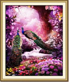 นกยูงคู่ในสวนดอกไม้