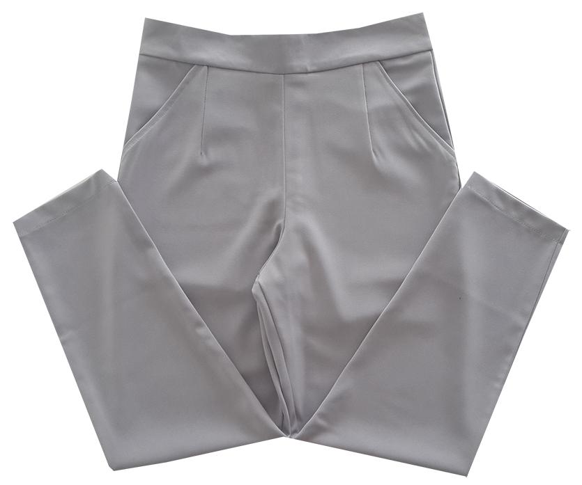 กางเกงเอวสูงขาเดฟ8ส่วน ผ้าฮานาโกะ ซิปซ้าย ไม่มีกระเป๋า สีเทา Size S M L XL