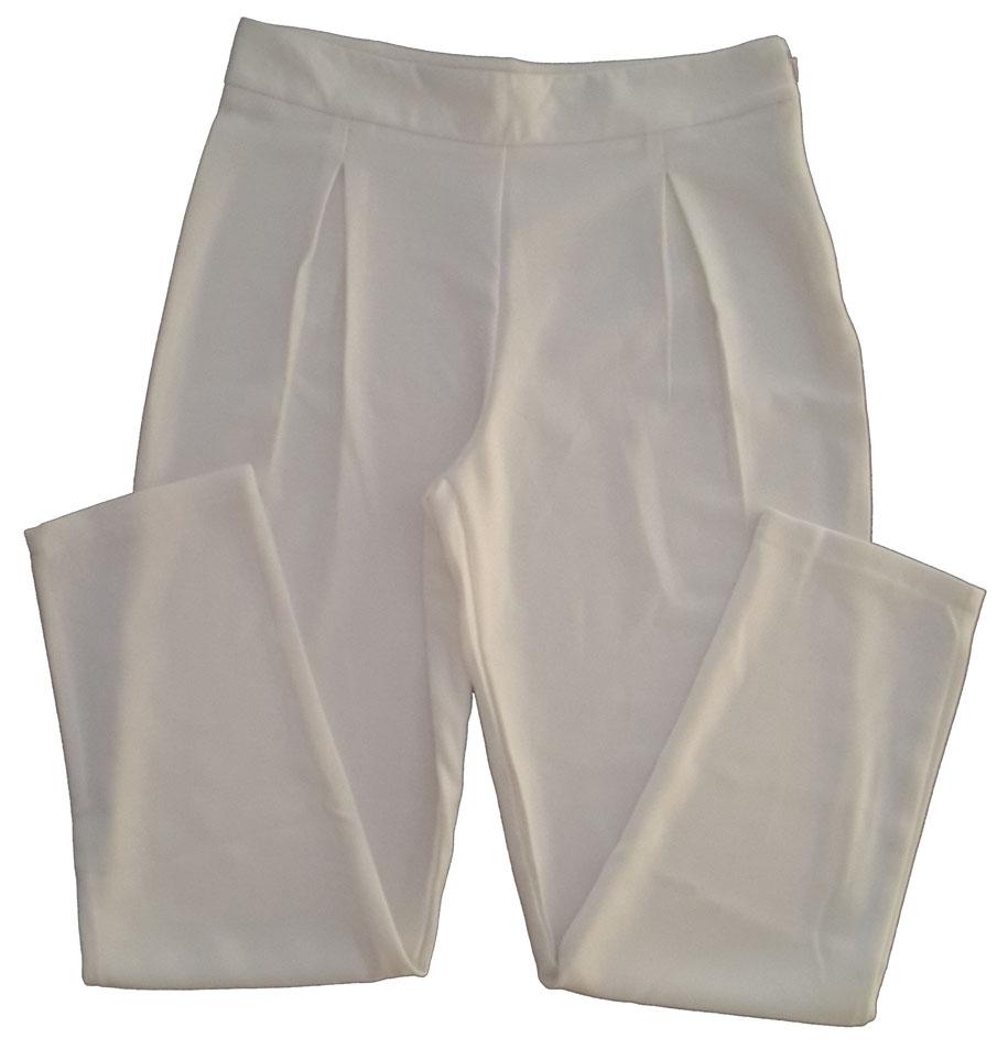 กางเกงขาเดฟเอวสูงจีบทวิตหน้า ผ้าฮานาโกะ สีขาว Size S M L XL สำเนา