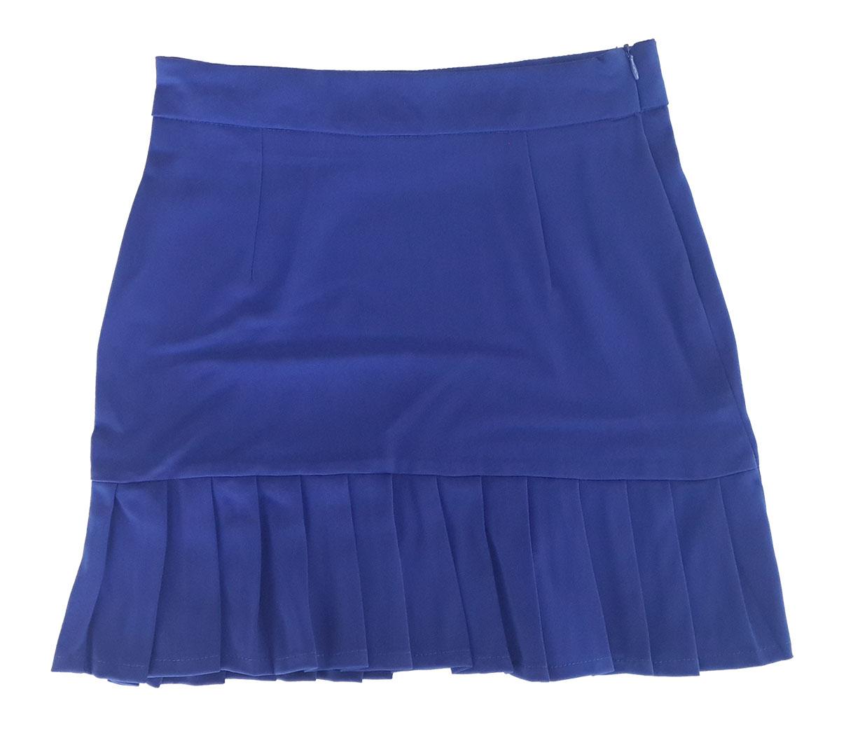 กระโปรงปลายจีบ ผ้าฮานาโกะ สีน้ำเงิน Size S M L XL