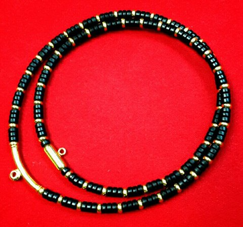 สร้อยกะลาสลับทองคำแท้ 90% เม็ดทอง 5 มิล 60 เม็ด + ข้อโค้งอ้วน 4.50 มิล ยาว 2.5 ซม.