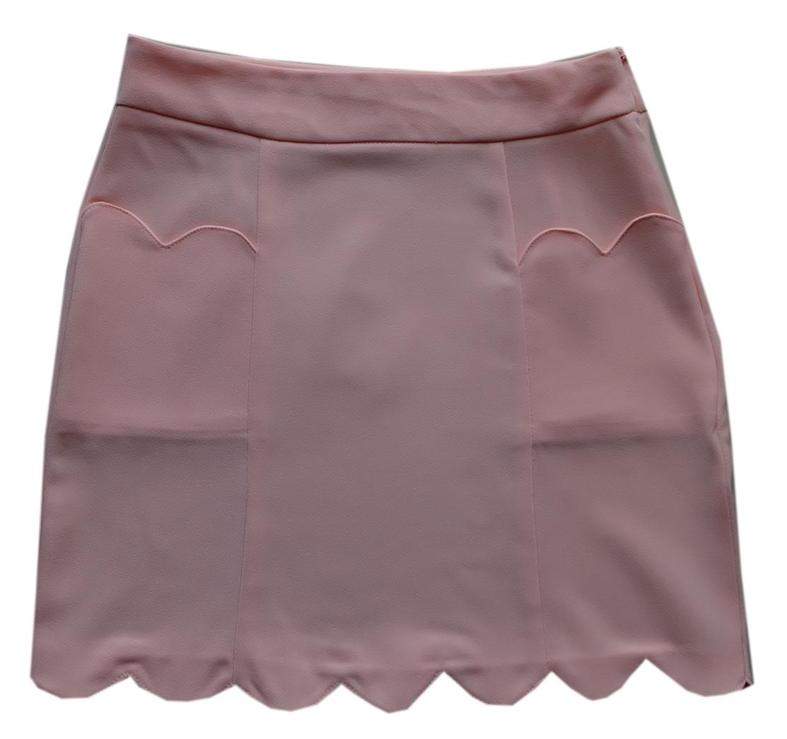 กระโปรงปลายหยักมีเป๋า ผ้าฮานาโกะ สีโอรส Size S M L XL