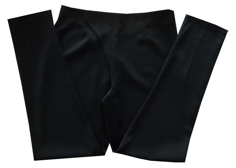 กางเกงขายาวผ้าฮานาโกะ ขาเดฟเอวสูง สีดำ Size S M L XL