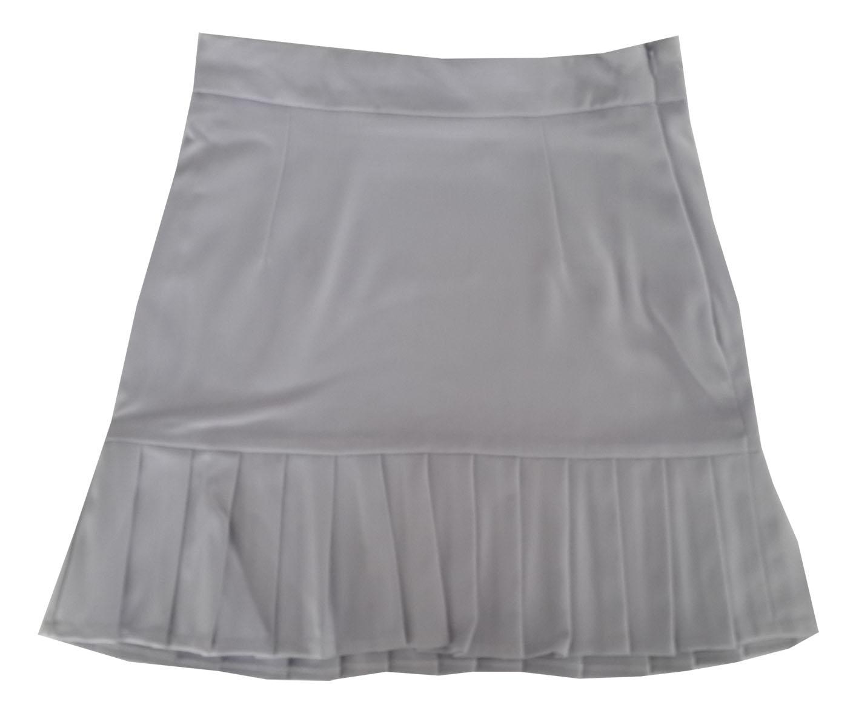 กระโปรงปลายจีบ ผ้าฮานาโกะ สีเทา Size S M L XL