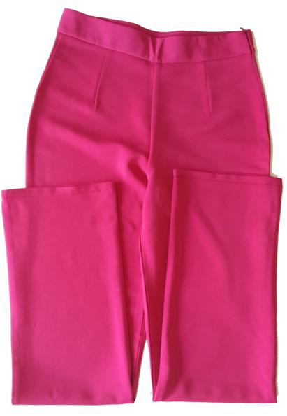 กางเกงขายาวผ้าฮานาโกะ ขากระบอกเอวสูง สีบานเย็น Size S M L XL