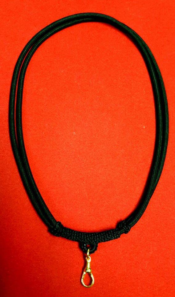 สร้อยเชือกร่มนอกถักพร้อมสปริงก้ามปูทองคำแท้ (แบบปรับความยาวได้)
