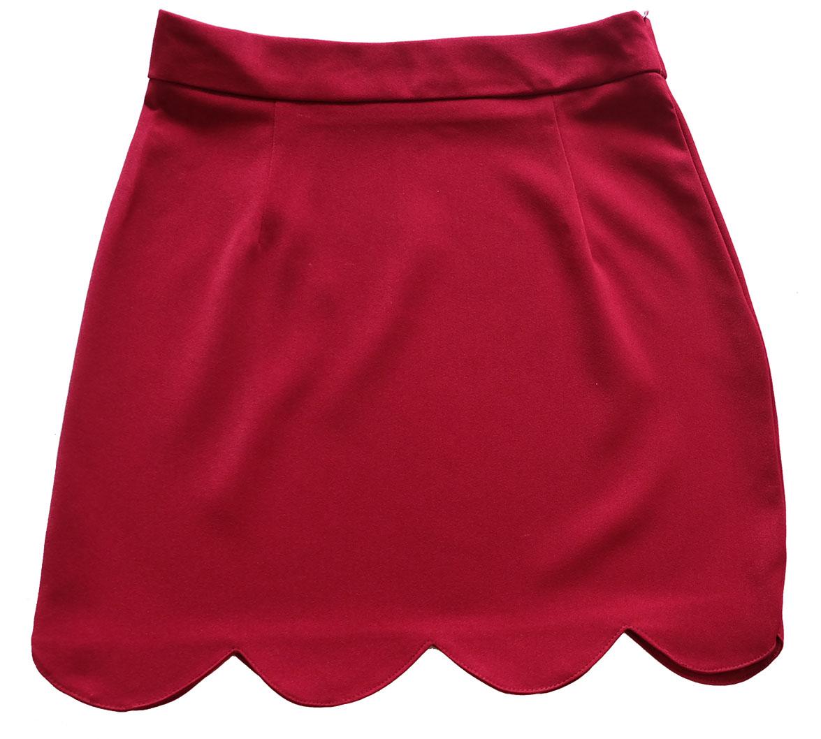 กระโปรงปลายหยัก ผ้าฮานาโกะ สีเลือดหมู Size S M L XL