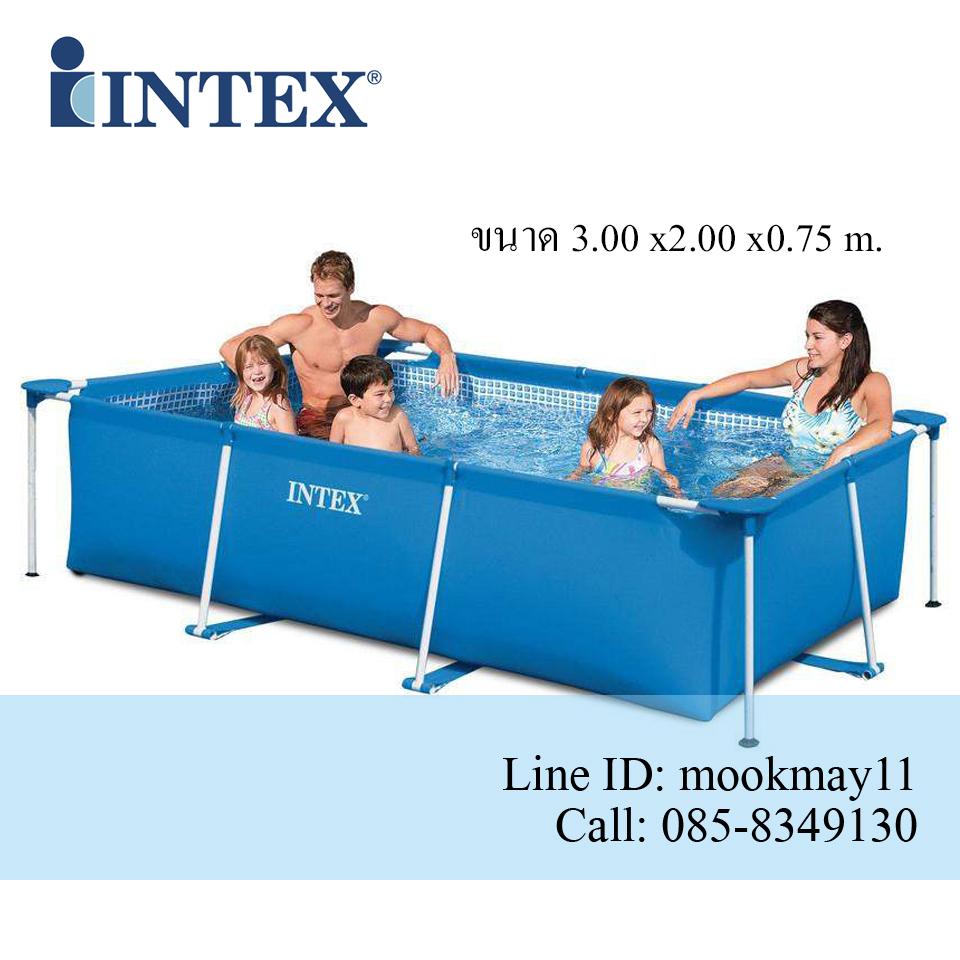 Intex Rectangular สระน้ำสี่เหลี่ยมขนาด 10 ฟุต สีน้ำเงิน รุ่น 28272