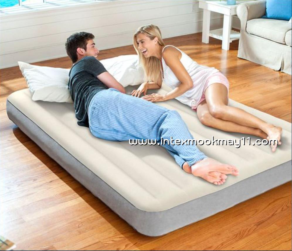 Intex 64709 Deluxe High Airbed with Fiber-Tech ที่นอนเป่าลมไฟเบอร์เทค สีครีม 5 ฟุตแถมสูบไฟฟ้า