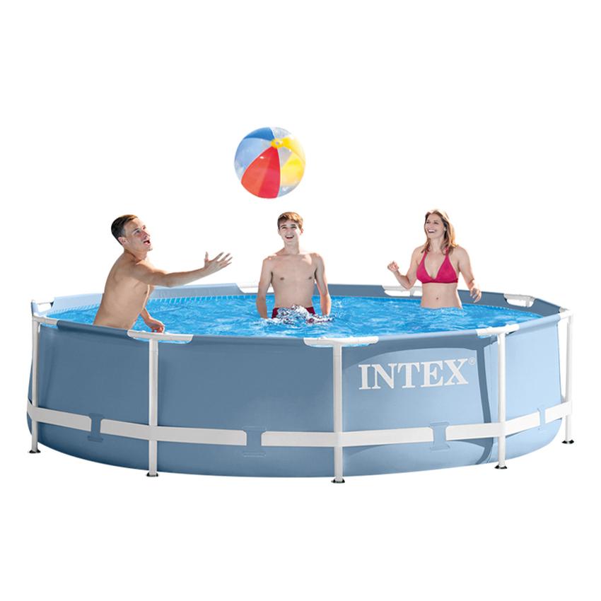 Intex สระปริซึ่มเฟรม 12 ฟุต (366x76 ซม.) สีฟ้า รุ่น 28710