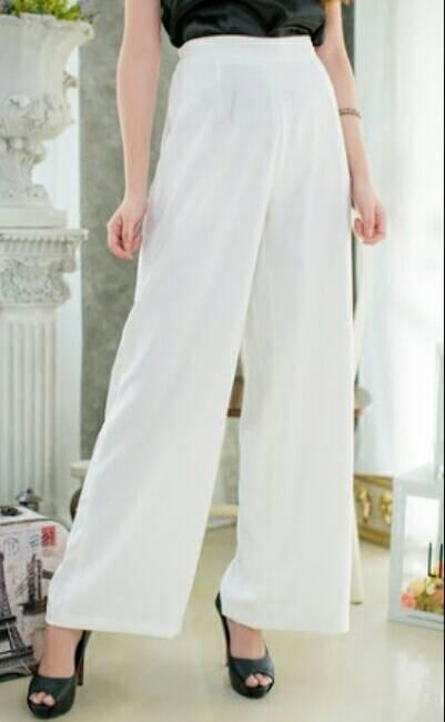 กางเกงขาบานเอวสูงผ้าฮานาโกะ สีขาว Size S M L XL