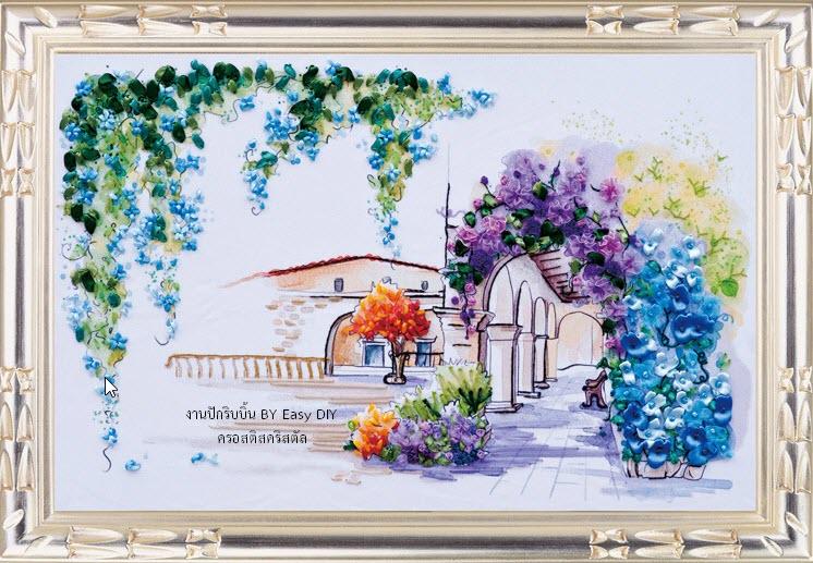 งานปักริบบิ้นรูปซุ้มดอกไม้ห้อยระย้า By Easy DIY ครอสติสคริสตัล