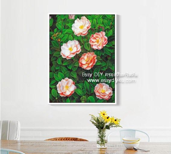อุปกรณ์งานฝีมือ DIY ครอสติสคริสตัลรูปดอกไม้บานนำพาสุข