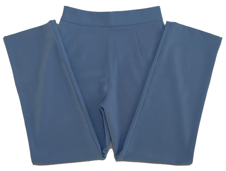 กางเกงขากระบอกเอวสูง ผ้าฮานาโกะ สีฟ้าคราม Size S M L XL สำเนา