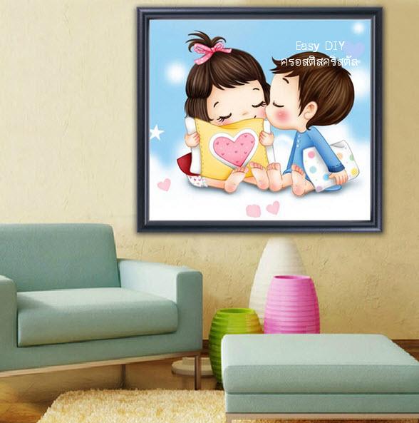 อุปกรณ์งานฝีมือ DIY ครอสติสคริสตัลรูปการ์ตูนคู่รักแสนน่ารัก