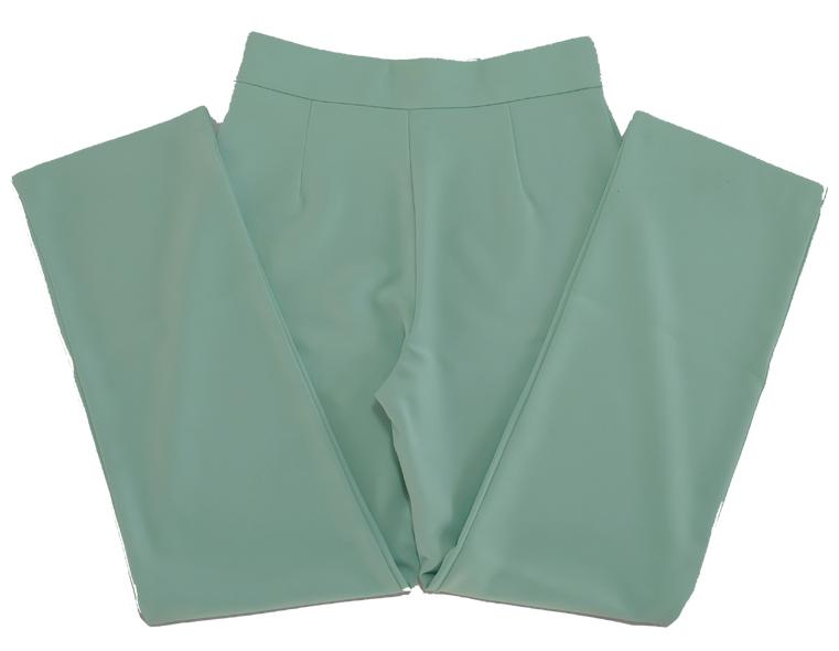 กางเกงขากระบอกเอวสูง ผ้าฮานาโกะ สีเขียวมิ้น Size S M L XL สำเนา