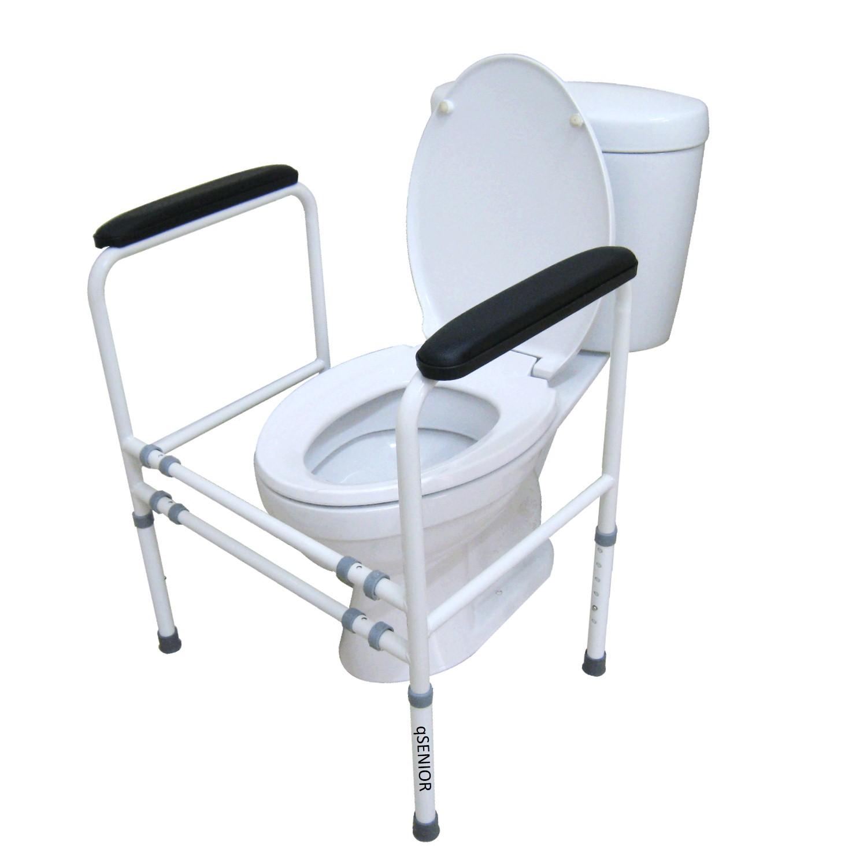 ราวจับพยุงตัวกันลื่นห้องน้ำ ช่วยลุก โถสุขภัณฑ์นั่งถ่าย นั่งราบ แบบโครง (ขนาด L) เหมาะกับผู้สุงอายุ ผู้ป่วย สำเนา