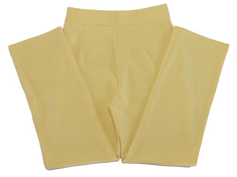 กางเกงขายาวผ้าฮานาโกะ ขากระบอกเอวสูง สีเหลือง Size S M L XL