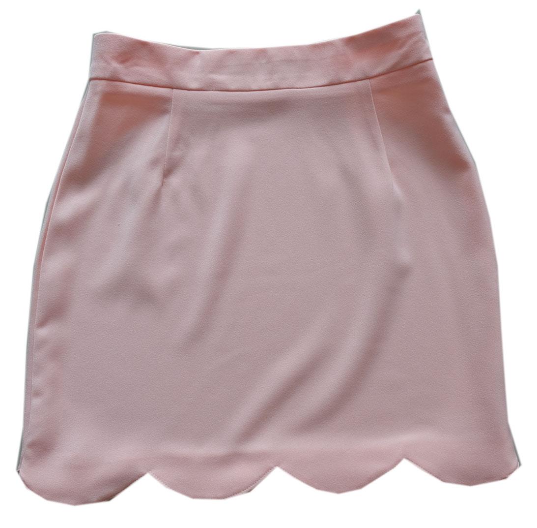 กระโปรงปลายหยัก ผ้าฮานาโกะ สีโอรส Size S M L XL