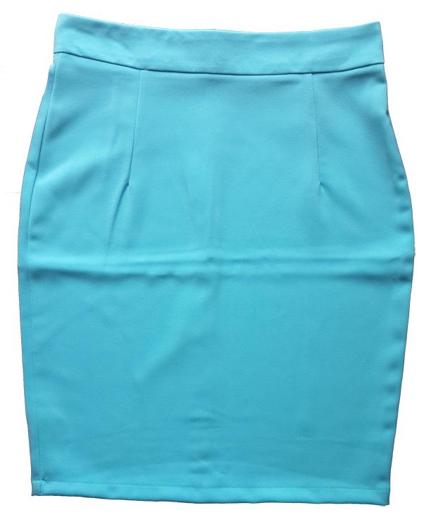 กระโปรงผ้าฮานาโกะ ทรงดินสอ สีฟ้า Size 4XL 5XL