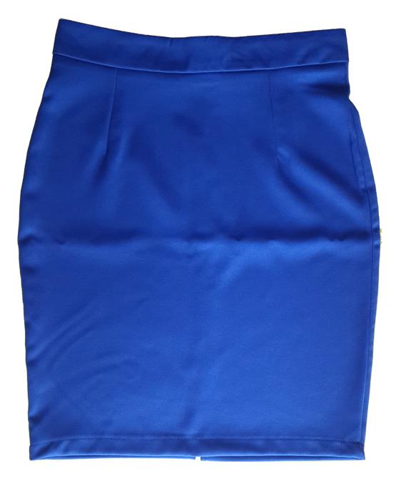 กระโปรงผ้าฮานาโกะ ทรงดินสอ สีน้ำเงิน Size 4XL 5XL