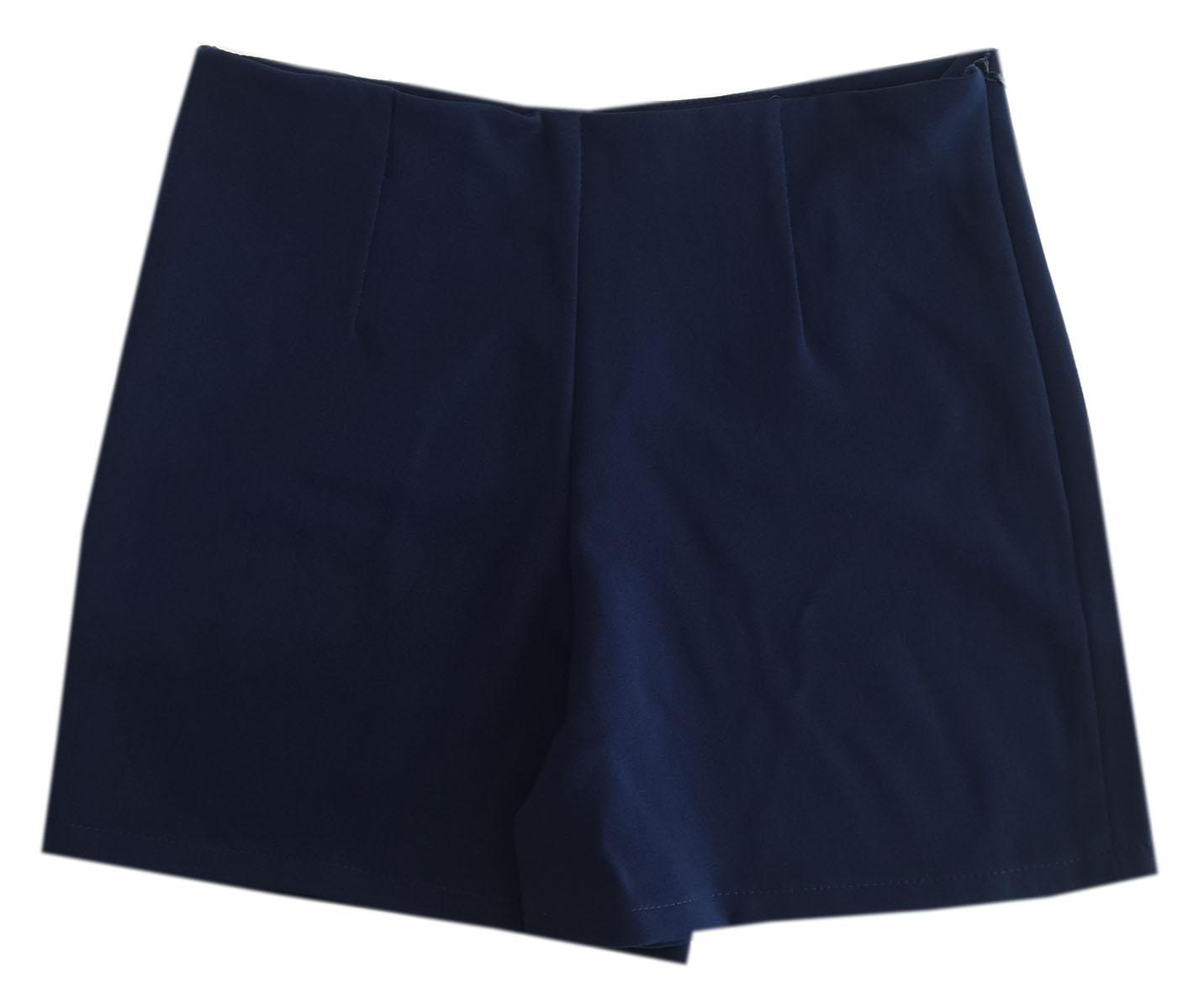 กางเกงขาสั้นเอวสูงขอบเรียบผ้าฮานาโกะ ซิปซ้าย กระเป๋าขวา สีกรม Size S M L XL