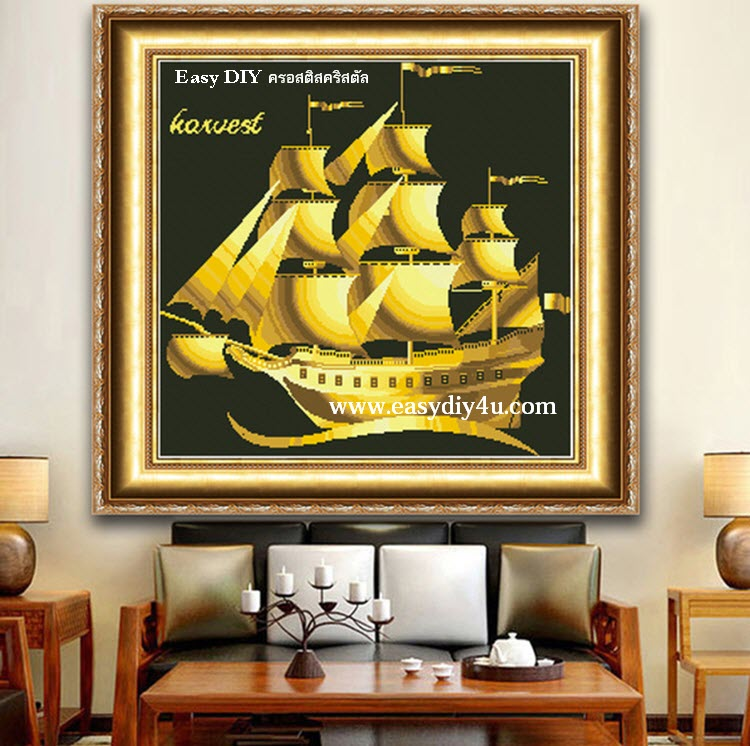 ครอสติสคริสตัลรูปสำเภาทองเหลืองอร่าม ทรัพย์สมบัติเงินทองเต็มลำ