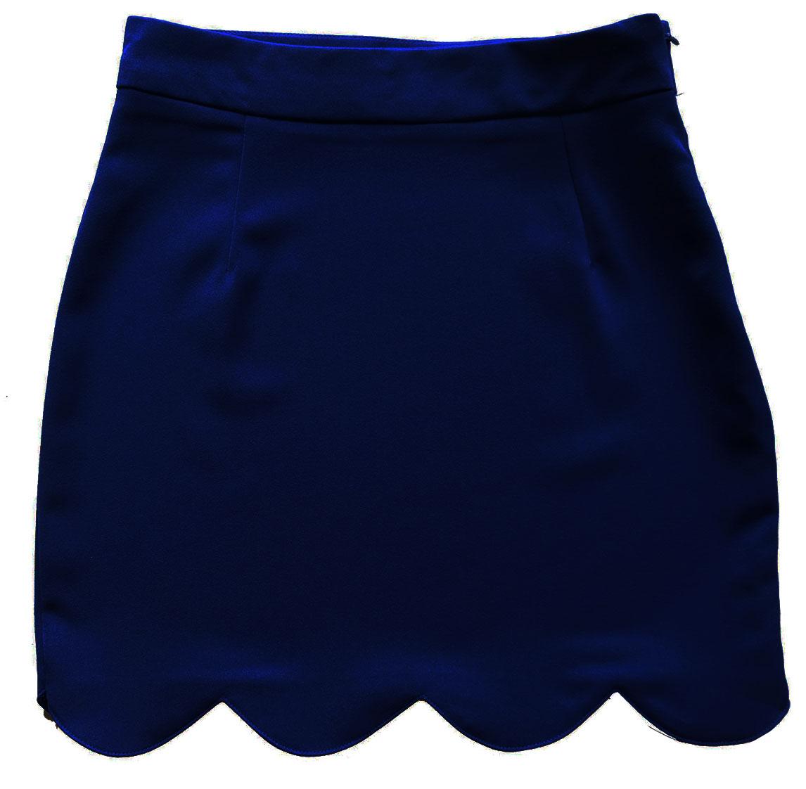 กระโปรงปลายหยัก ผ้าฮานาโกะ สีกรม Size S M L XL