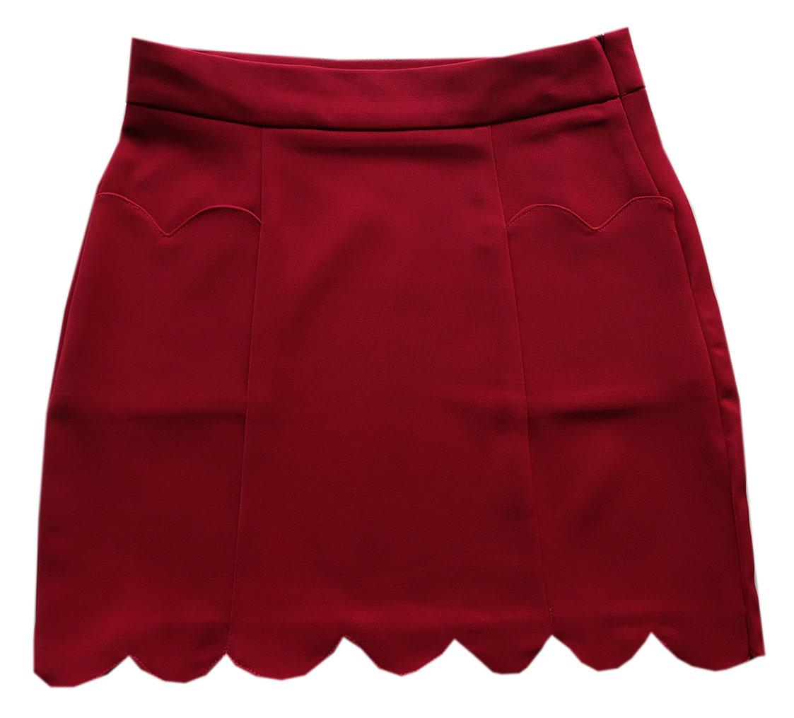 กระโปรงปลายหยักมีเป๋า ผ้าฮานาโกะ สีเลือดหมู Size S M L XL