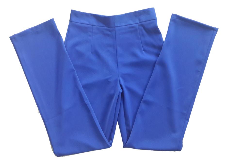 กางเกงขากระบอกเอวสูง ผ้าฮานาโกะ สีน้ำเงิน Size S M L XL