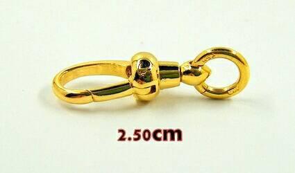 สปริงก้ามปูทองคำแท้ 90% แบบไม่หมุน ขนาด 2.5ซม.