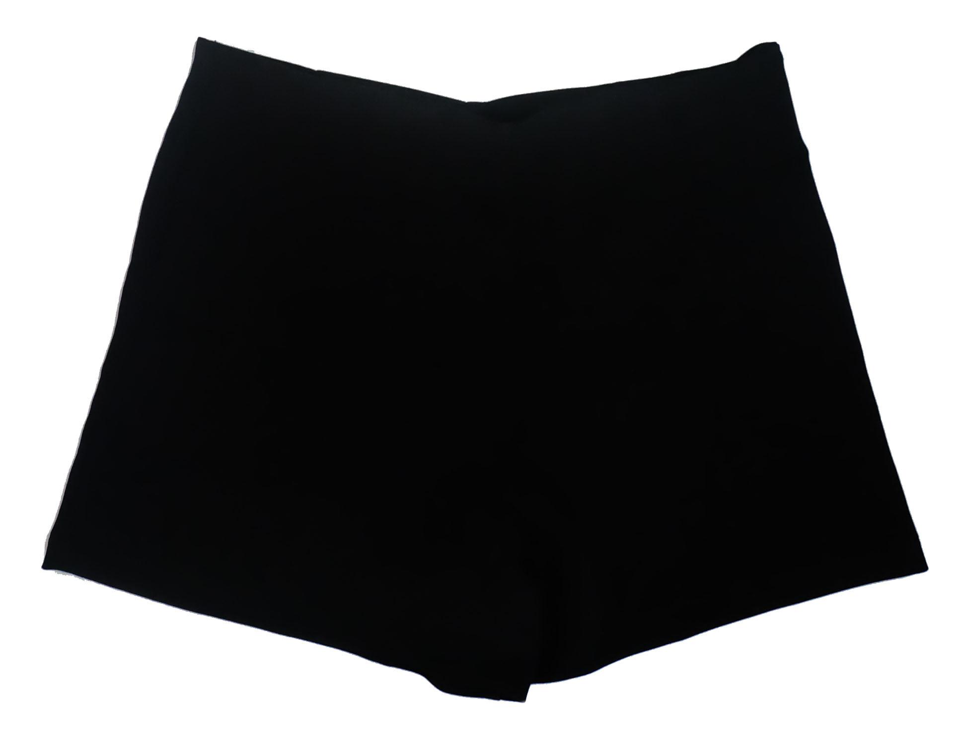 กางเกงขาสั้นเอวสูงขอบเรียบผ้าฮานาโกะ ซิปซ้าย กระเป๋าขวา สีดำ Size S M L XL