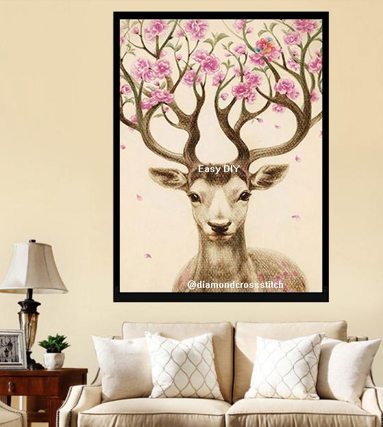 ครอสติสคริสตัลรูปวาดกวางเขาประดับดอกไม้แสนสวย ภาพงานศิลปะแสนสวย