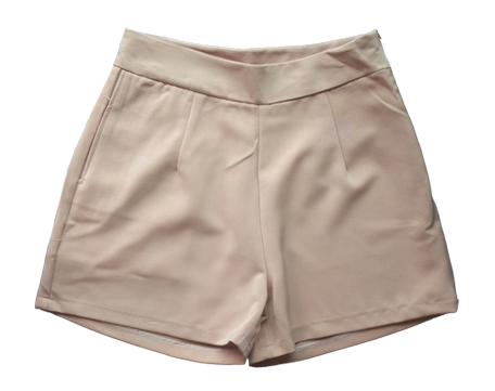 กางเกงขาสั้นเอวสูงผ้าฮานาโกะ สีน้ำตาล กระเป๋าขวา ซิปซ้าย Size S M L XL