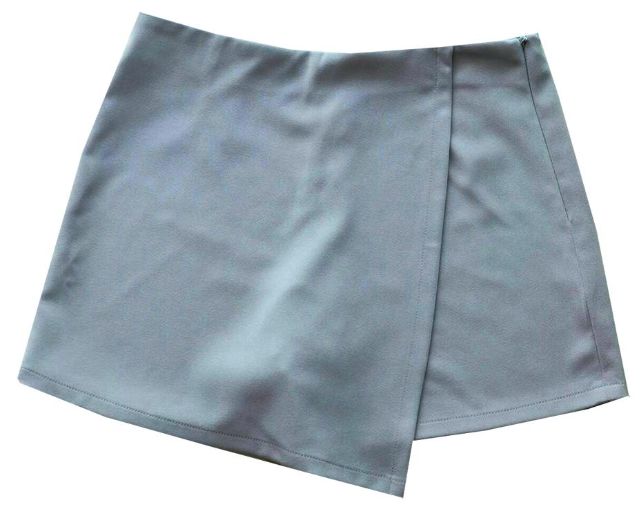 กางเกงกระโปรงป้าย เอวสูงขอบเรียบผ้าฮานาโกะ ซิปซ้าย สีเทา Size S M L XL