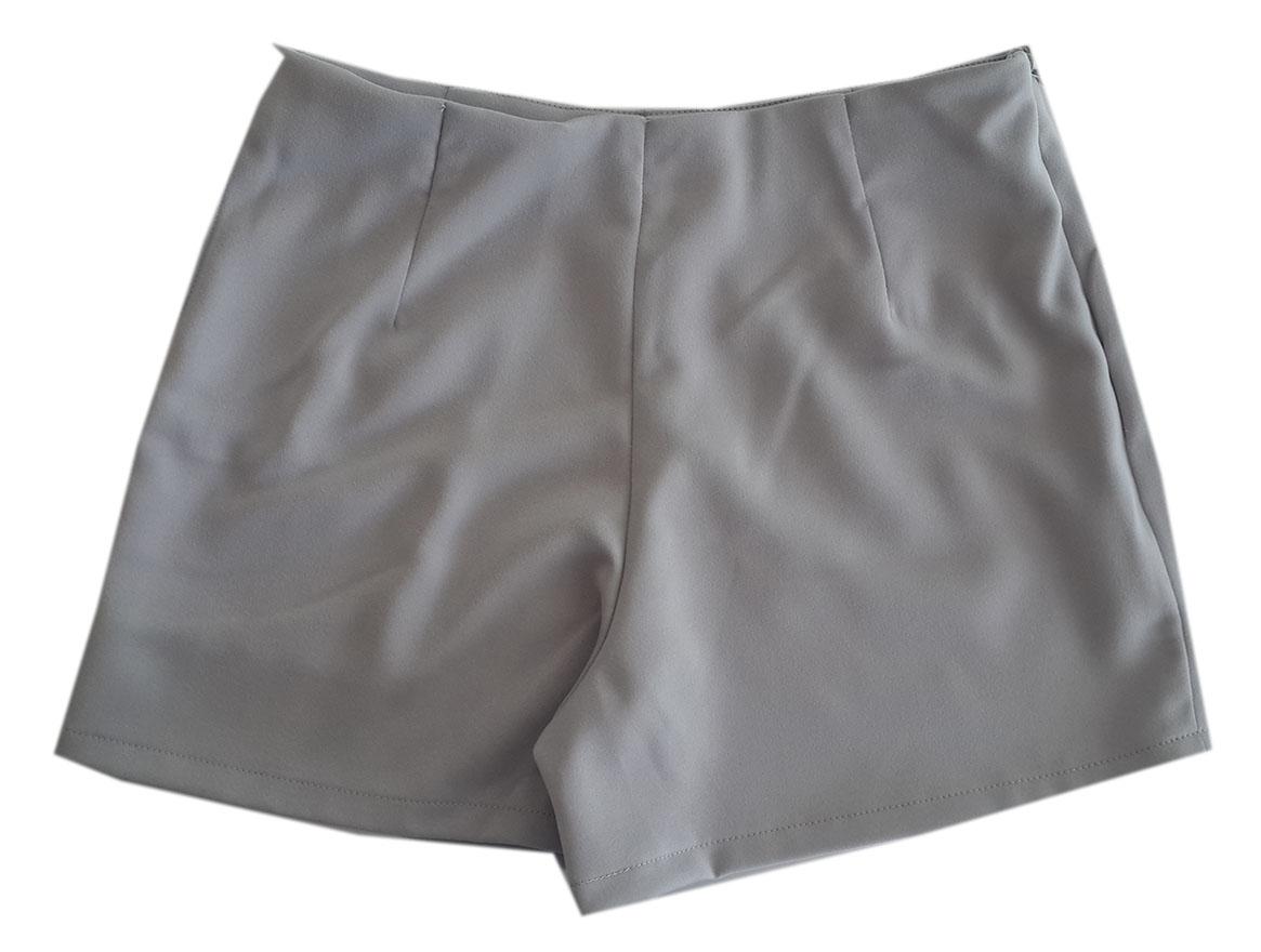กางเกงขาสั้นเอวสูงขอบเรียบผ้าฮานาโกะ ซิปซ้าย กระเป๋าขวา สีเทา Size 2XL 3XL