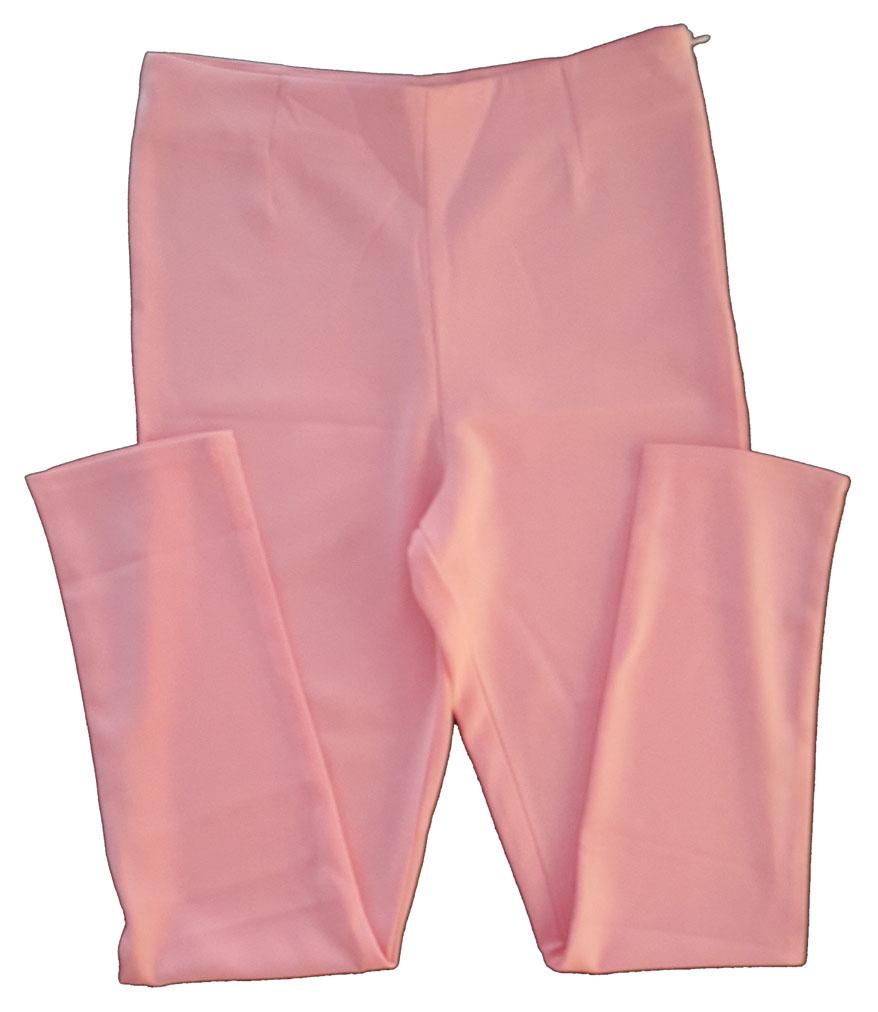 กางเกงขายาวผ้าฮานาโกะ ขาเดฟเอวสูง สีชมพู Size S M L XL