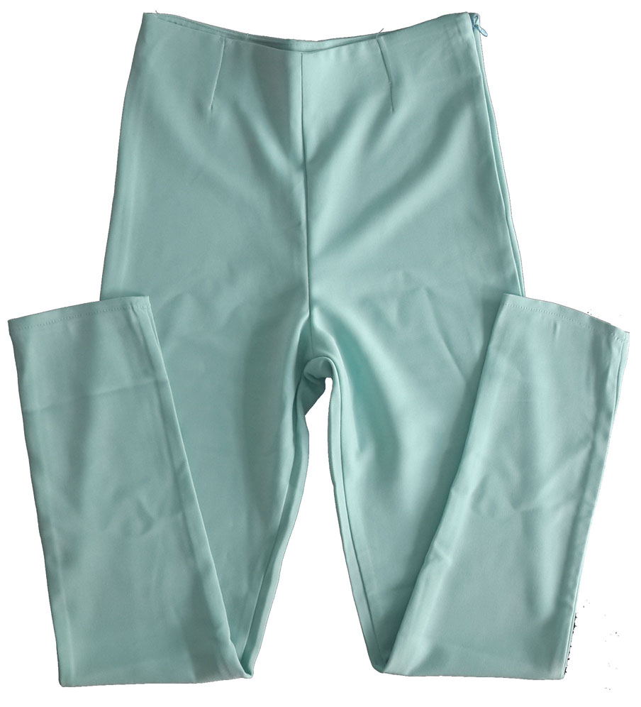 กางเกงขายาวผ้าฮานาโกะ ขาเดฟเอวสูง สีเขียวมิ้น Size S M L XL